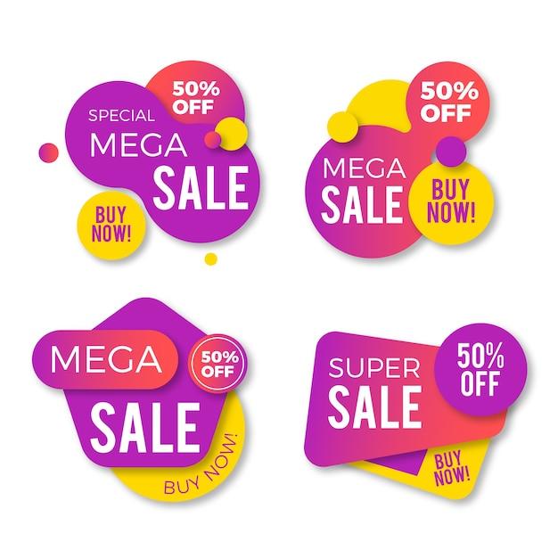 Kleurrijke verkoop banners collectie Gratis Vector