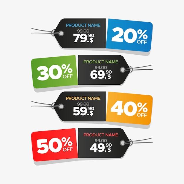 Kleurrijke verkoop en prijskaartjes ingesteld Premium Vector