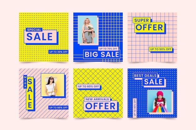 Kleurrijke verkoop instagram postinzameling Gratis Vector