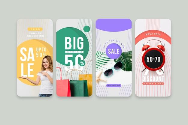 Kleurrijke verkoop instagram verhalen Gratis Vector