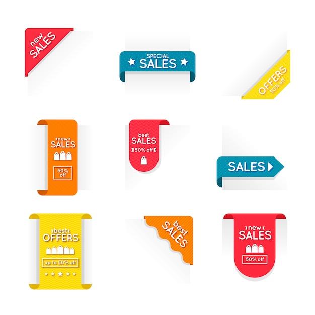 Kleurrijke verkoop labelcollectie Gratis Vector
