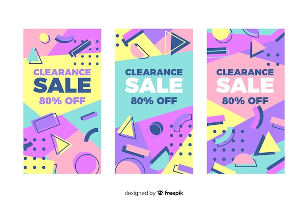 Kleurrijke verkoopbannerinzameling in de stijl van memphis Gratis Vector