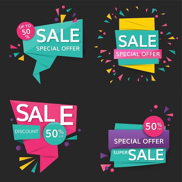 Kleurrijke verkoopborden Gratis Vector