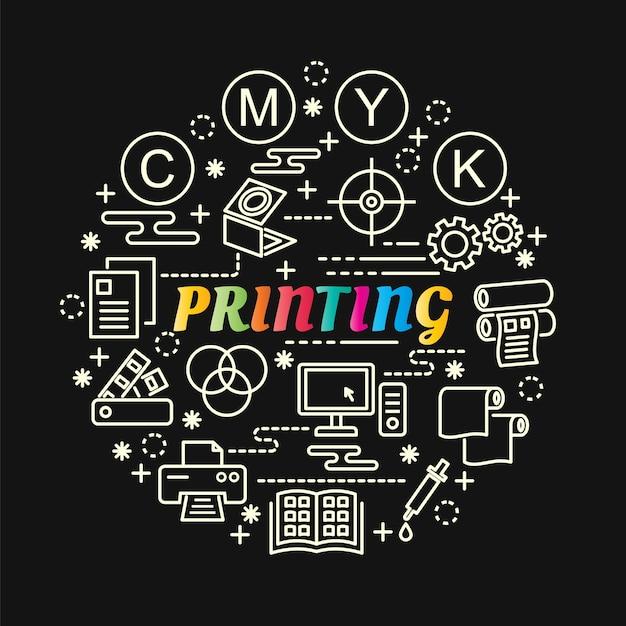 Kleurrijke verloop afdrukken met lijn pictogrammen instellen Premium Vector