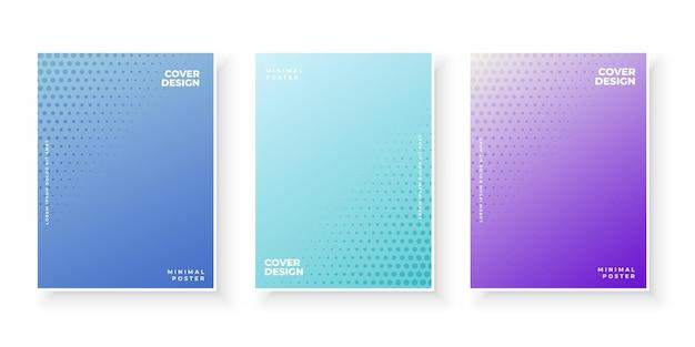 Kleurrijke verloopafdekkingen met stippen abstracte set Gratis Vector