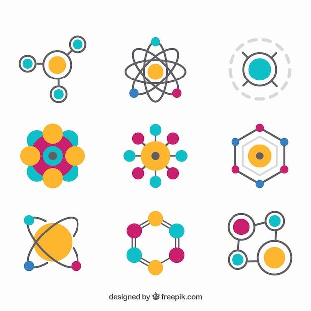 Kleurrijke verscheidenheid aan platte moleculen Gratis Vector
