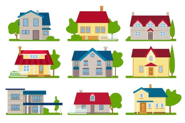 Kleurrijke verschillende huizen pakken Gratis Vector
