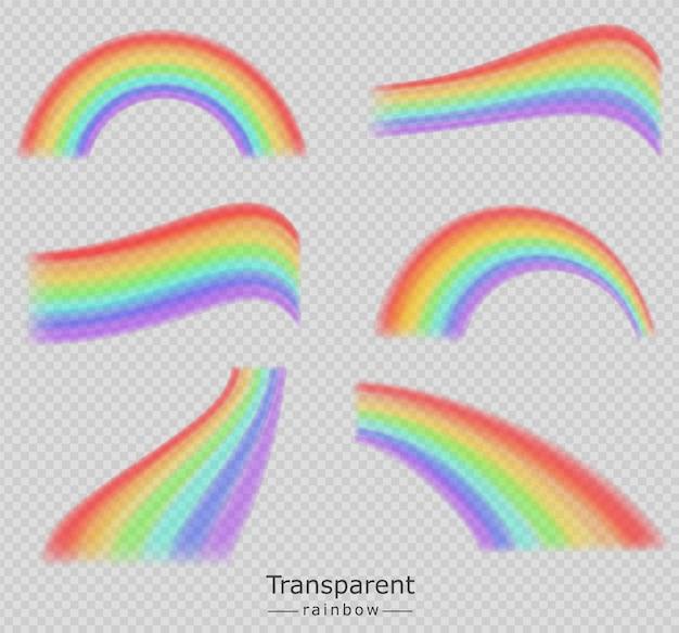 Kleurrijke verzameling regenbogen Premium Vector