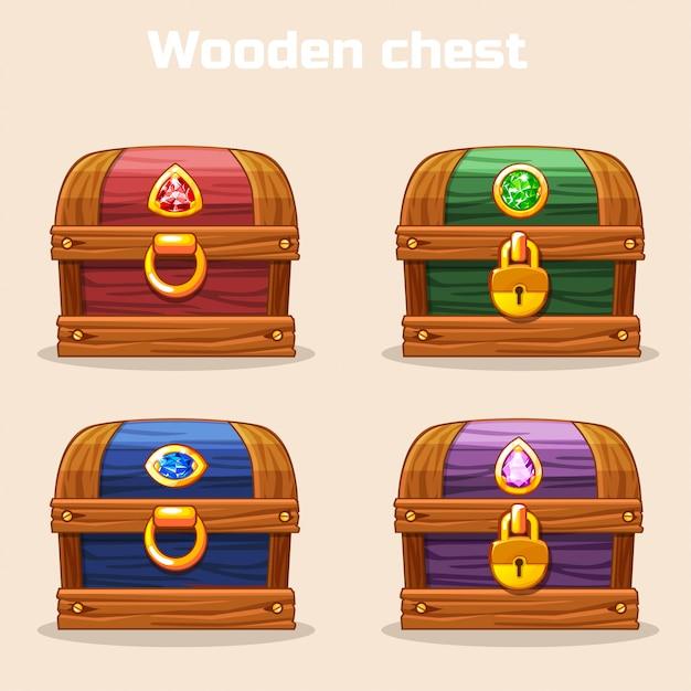 Kleurrijke vintage houten kist met diamanten Premium Vector