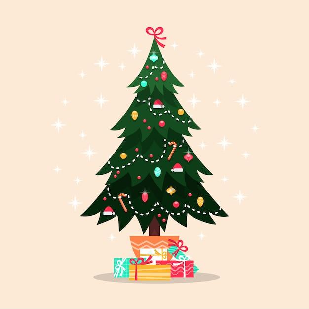 Kleurrijke vintage kerstboom Gratis Vector