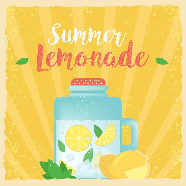 Kleurrijke vintage limonade label poster vector illustratie. zomer achtergrond. effecten poster, frame, kleuren achtergrond en kleuren tekst zijn bewerkbaar. gelukkige vakantiekaart, gelukkige vakantiekaart. Premium Vector