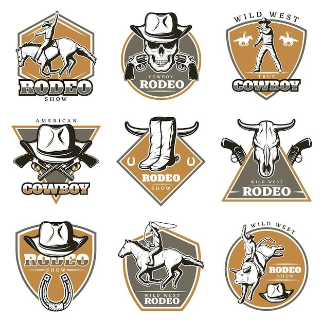 Kleurrijke vintage rodeo logo's set Gratis Vector