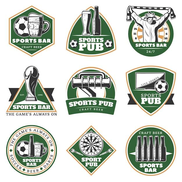 Kleurrijke vintage sport pub emblemen instellen Gratis Vector
