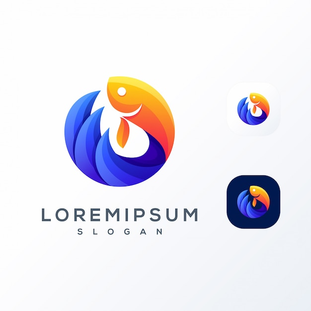 Kleurrijke vis golf logo Premium Vector