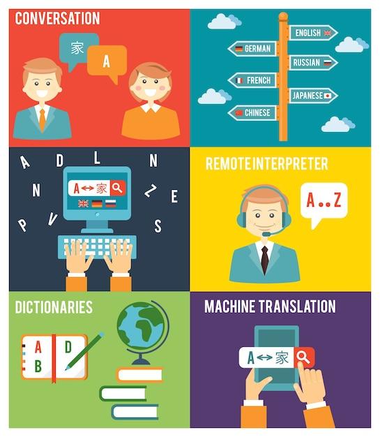 Kleurrijke vlakke stijl illustratie van het leren van vreemde taal concept Gratis Vector