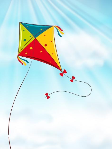 Kleurrijke vlieger die in blauwe hemel vliegt Gratis Vector