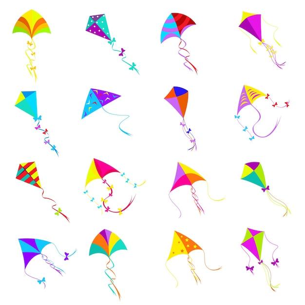 Kleurrijke vliegerset. speelgoedontwerp, objectgroep voor activiteitsspel, vliegvrijheid Gratis Vector