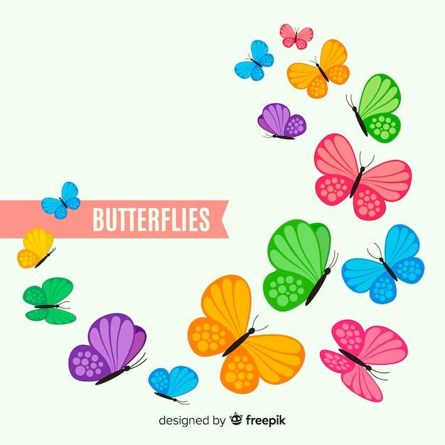 Kleurrijke vlinder achtergrond Gratis Vector