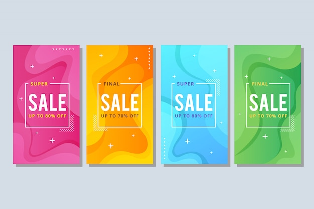 Kleurrijke vloeibare abstracte verkoopbanner Premium Vector