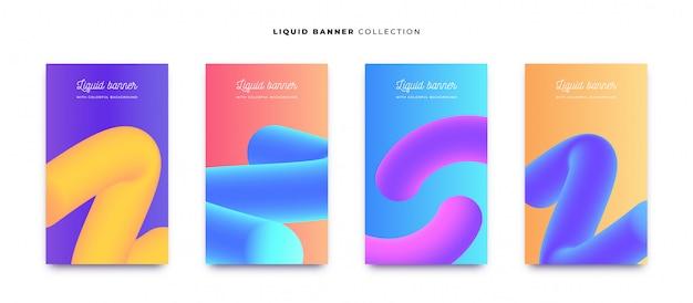 Kleurrijke vloeibare banner collectie met levendige achtergronden Gratis Vector