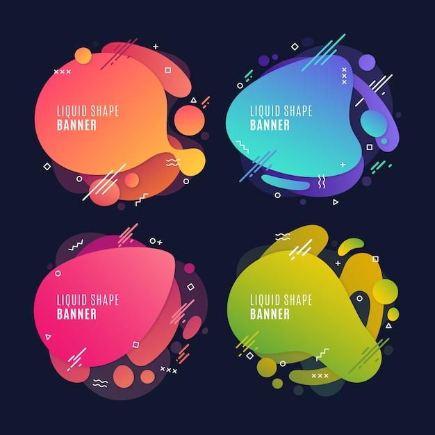 Kleurrijke vloeibare banners Gratis Vector