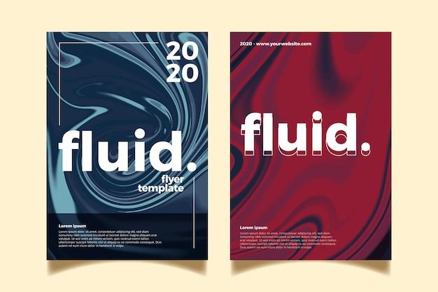 Kleurrijke vloeistof effect poster sjabloon Gratis Vector
