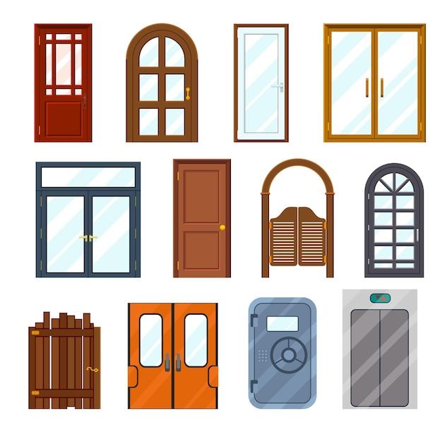 Kleurrijke voordeuren ingesteld. Gratis Vector