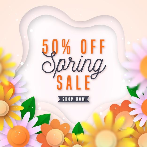 Kleurrijke voorjaarsverkoop in papieren stijl Gratis Vector