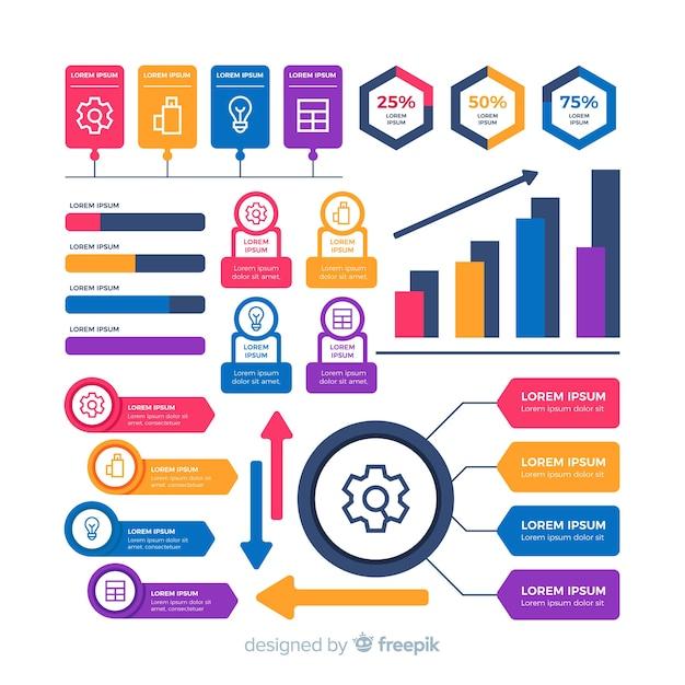 Kleurrijke vormeninzameling voor infographic zaken Gratis Vector