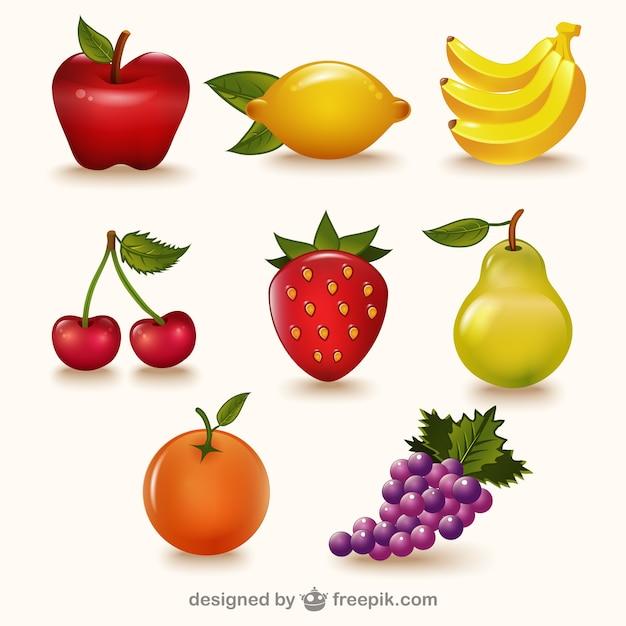 Kleurrijke vruchten pak Gratis Vector