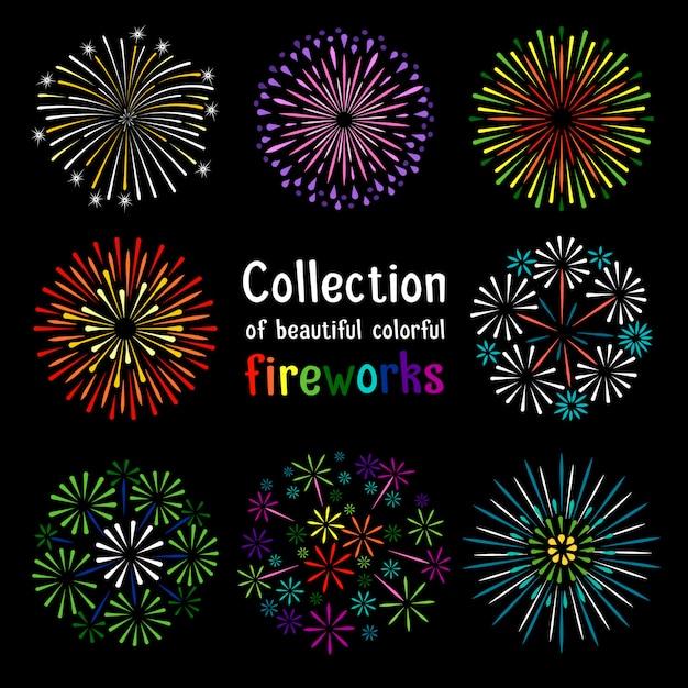 Kleurrijke vuurwerkinzameling op zwarte achtergrond Premium Vector
