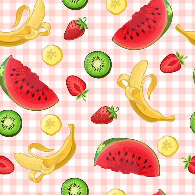Kleurrijke watermeloen kiwi banaan en aardbei fruit en segment symbolen op roze keukentafelkleed Gratis Vector