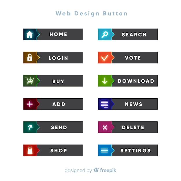 Kleurrijke web design knop collectie met platte ontwerp Gratis Vector