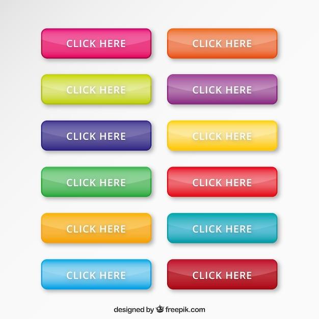 Kleurrijke webknopen plaatsen Gratis Vector