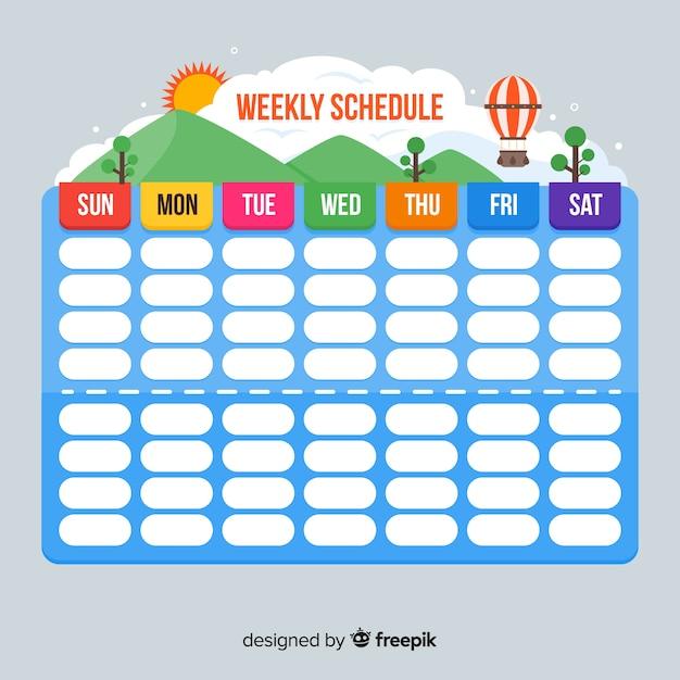 Kleurrijke wekelijkse planningsmalplaatje met vlak ontwerp Gratis Vector