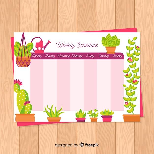 Kleurrijke wekelijkse schemasjabloon met mooie stijl Gratis Vector