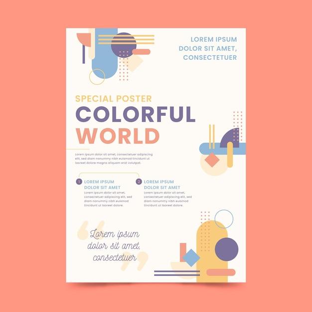Kleurrijke wereld poster sjabloon Gratis Vector