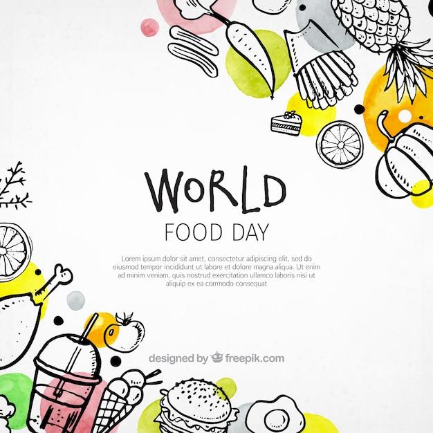 Kleurrijke wereld voedsel dag achtergrond Gratis Vector