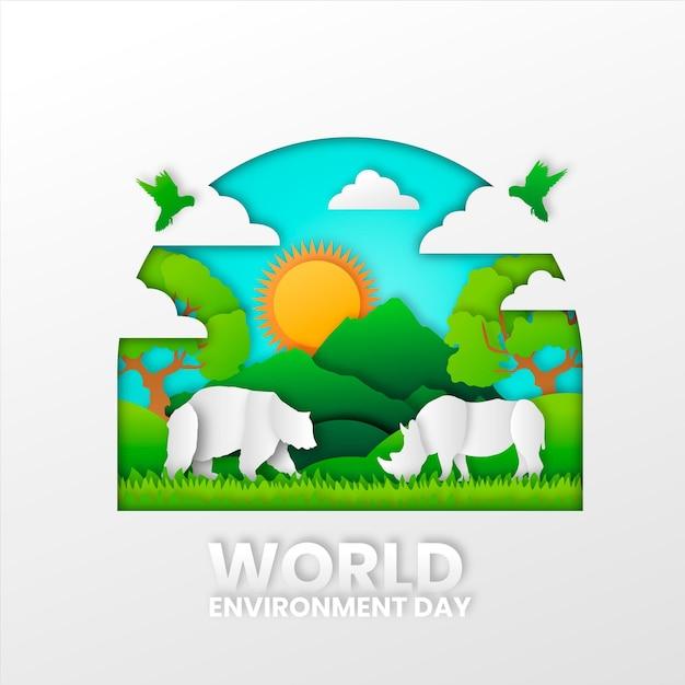 Kleurrijke wereldmilieudag in papierstijl Gratis Vector