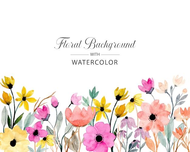 Kleurrijke wilde bloemenwaterverfachtergrond Premium Vector