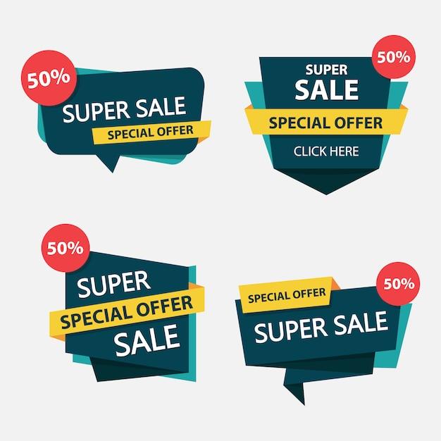 Kleurrijke winkelen verkoop labelsjabloon Premium Vector