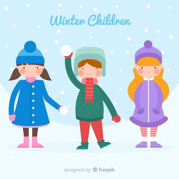 Kleurrijke winter kinderen achtergrond Gratis Vector