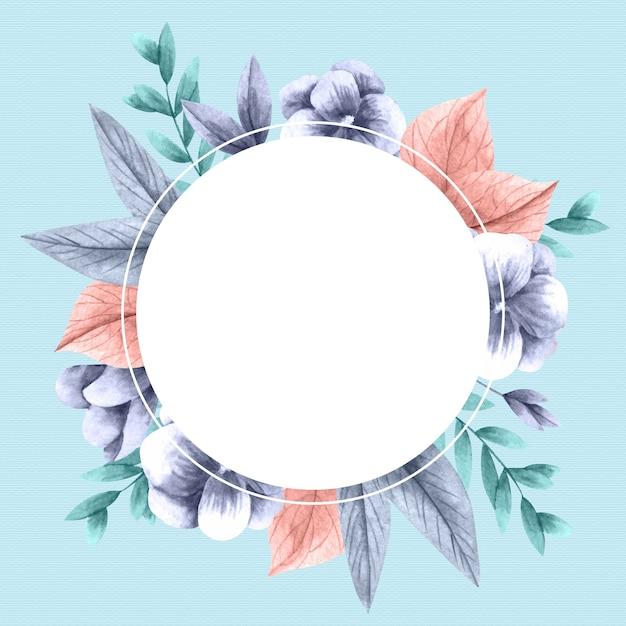 Kleurrijke winterbloemen met lege banner Gratis Vector