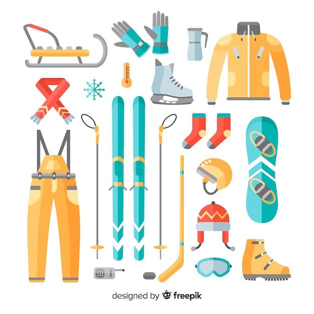 Kleurrijke wintersportuitrusting collectie Gratis Vector