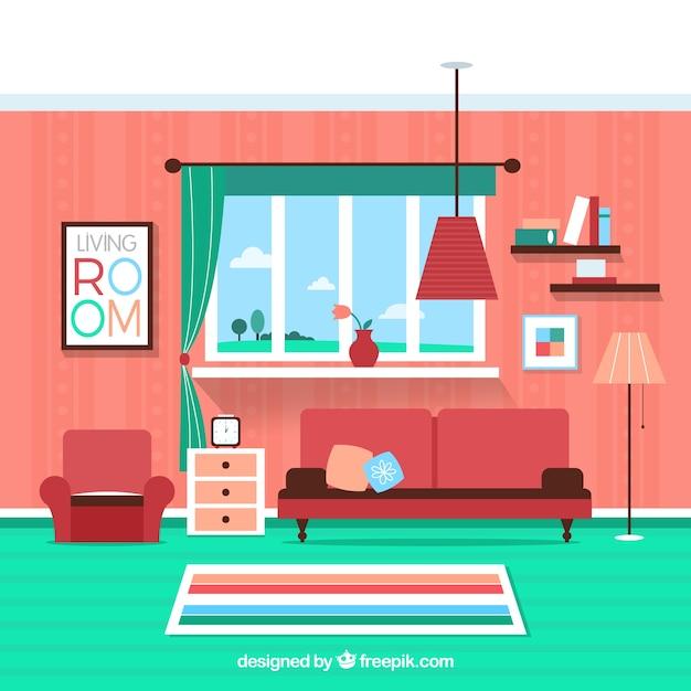 Kleurrijke woonkamer Gratis Vector