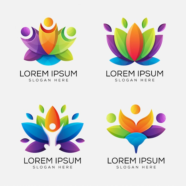 Kleurrijke yoga lotus logo bundel Premium Vector