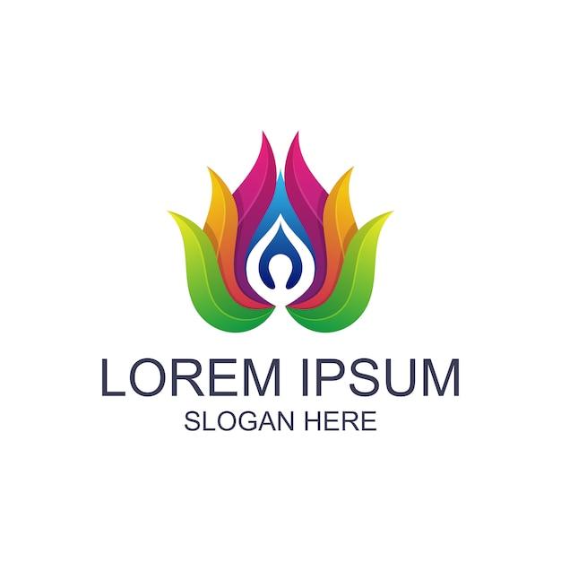 Kleurrijke yoga met lotus-logo Premium Vector