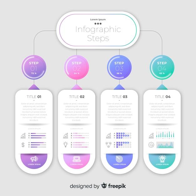 Kleurrijke zakelijke stappen infographic sjabloon Gratis Vector