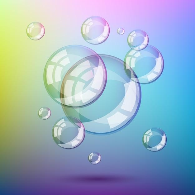 Kleurrijke zeepbellen geïsoleerd Premium Vector