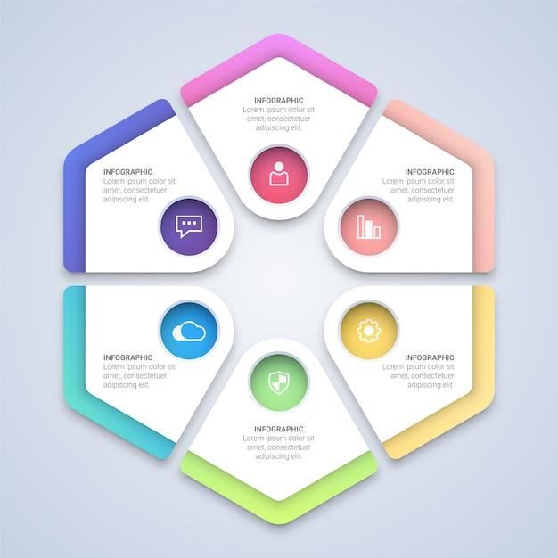 Kleurrijke zeshoek infographic sjabloon Premium Vector